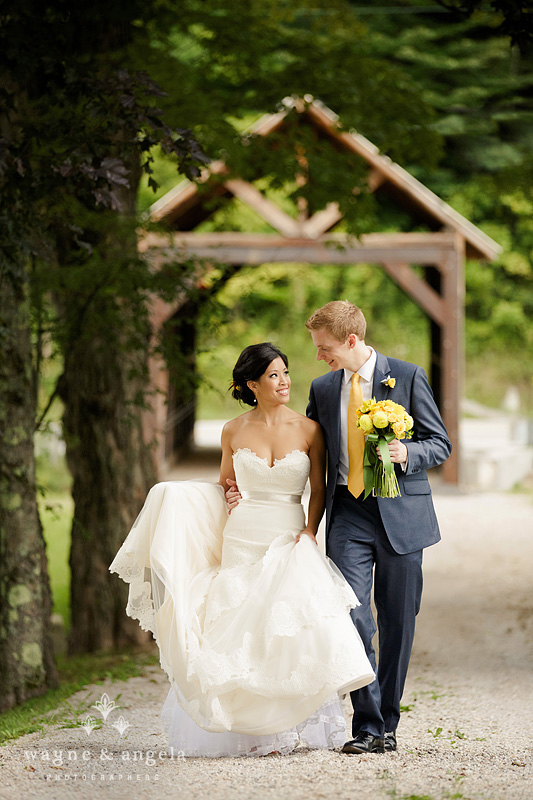 Bride and groom at Covered Bridge