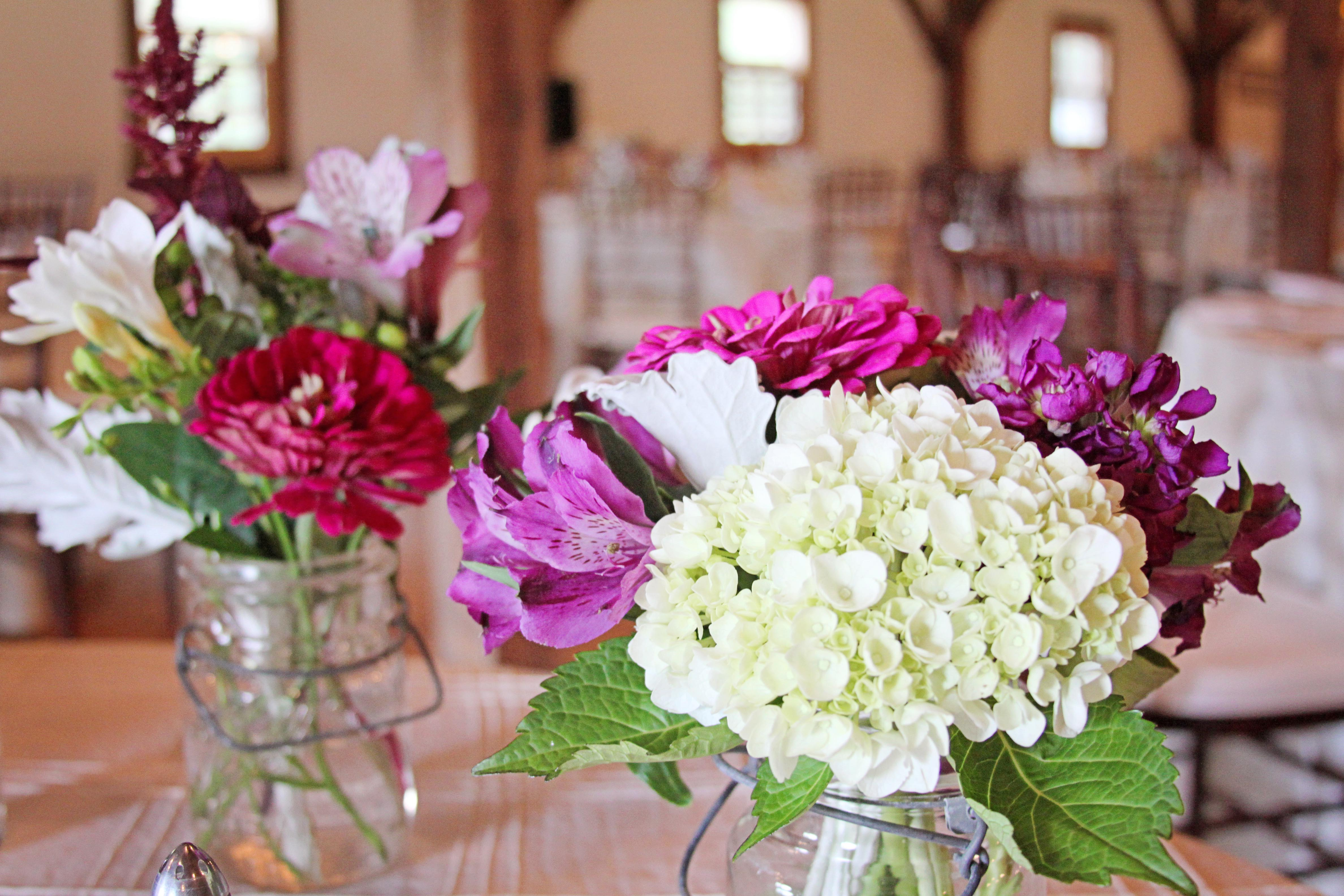 Riverside Farm Vermont Wedding Detail - flowers by Pittsfield Garden Center