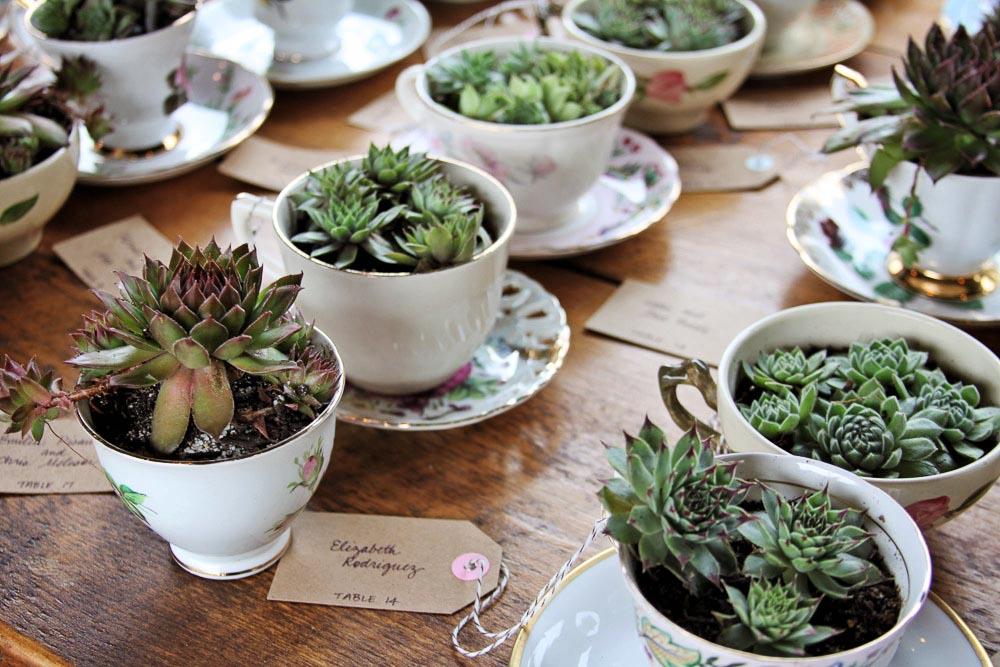 Riverside Farm Wedding Vermont - tea cup place cards