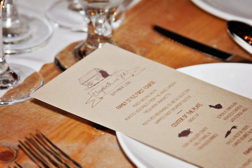 Riverside Farm Wedding detail - wedding dinner menu