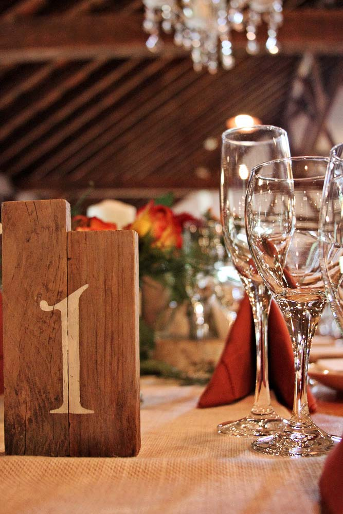 Riverside Farm Wedding Details - Table Numbers