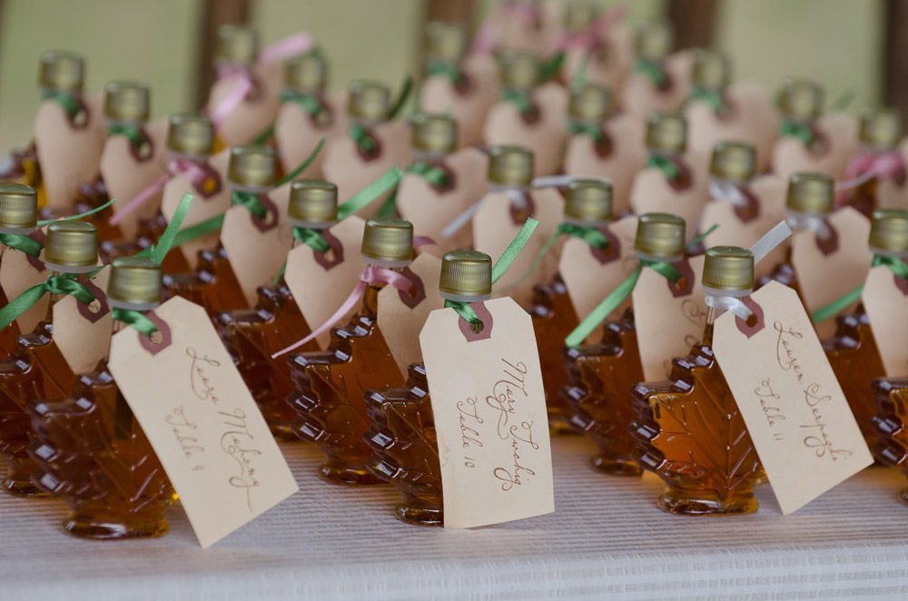 Maple Syrup Vermont Themed Wedding Place Cards