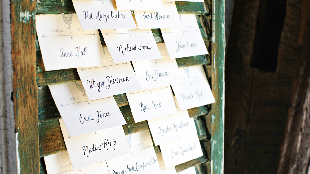 Rustic window shutter place card idea