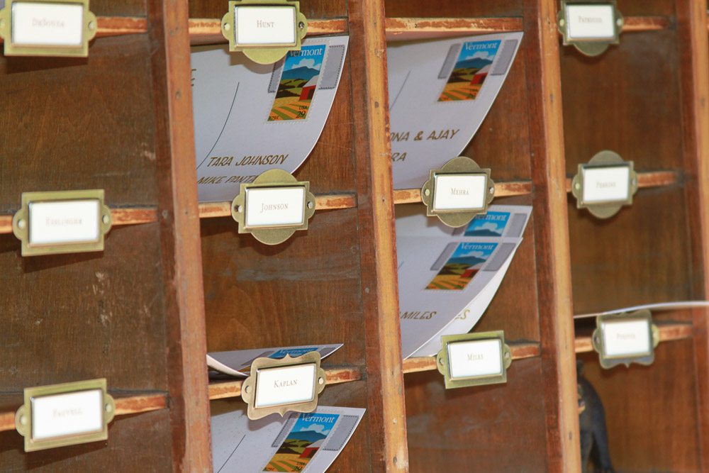 Antique Post office Wedding Place Card Display detail
