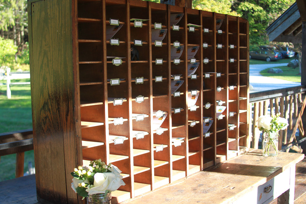 Antique Post office Wedding Place Card Display
