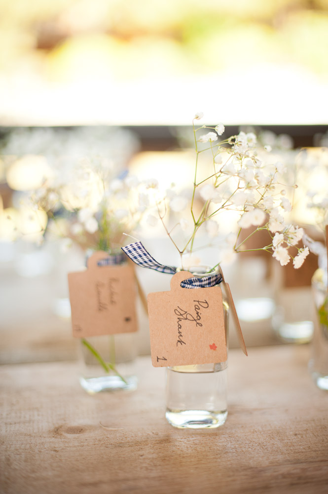 Wildflower antique glass wedding place card display