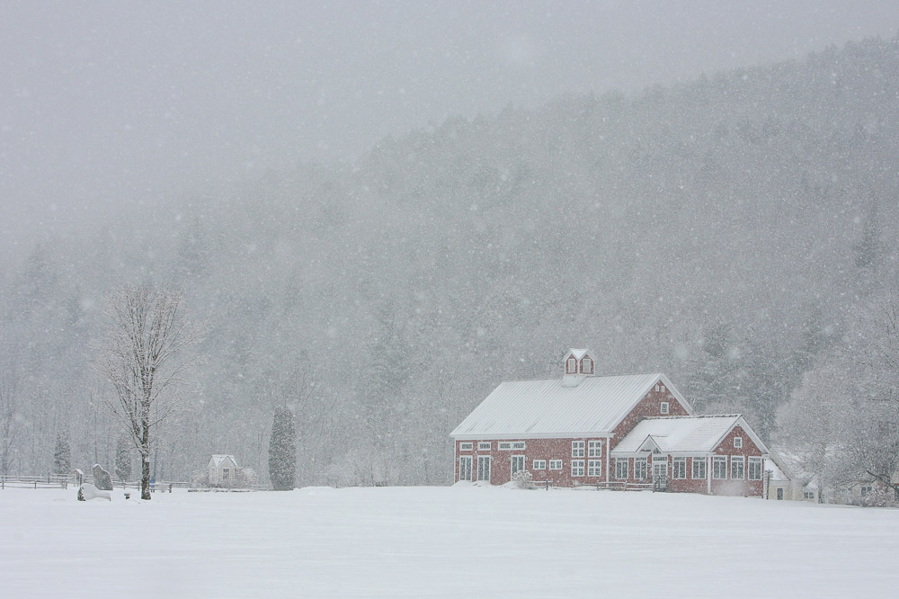 A Vermont Winter Wedding Wonderland -  Riverside Farm Red Barn in Snow