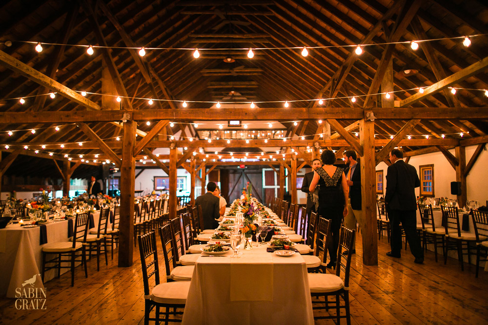 A Vermont Winter Wedding Wonderland - Dinner in the Brown Barn