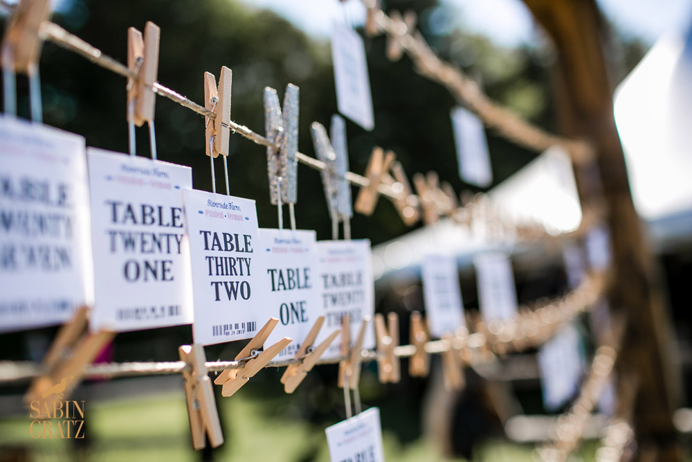 Fun clothespin wedding table card display