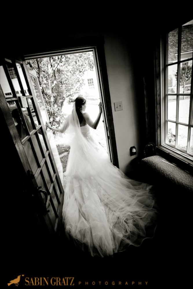 Classic Vermont Wedding Site B+W photo - bride cottage