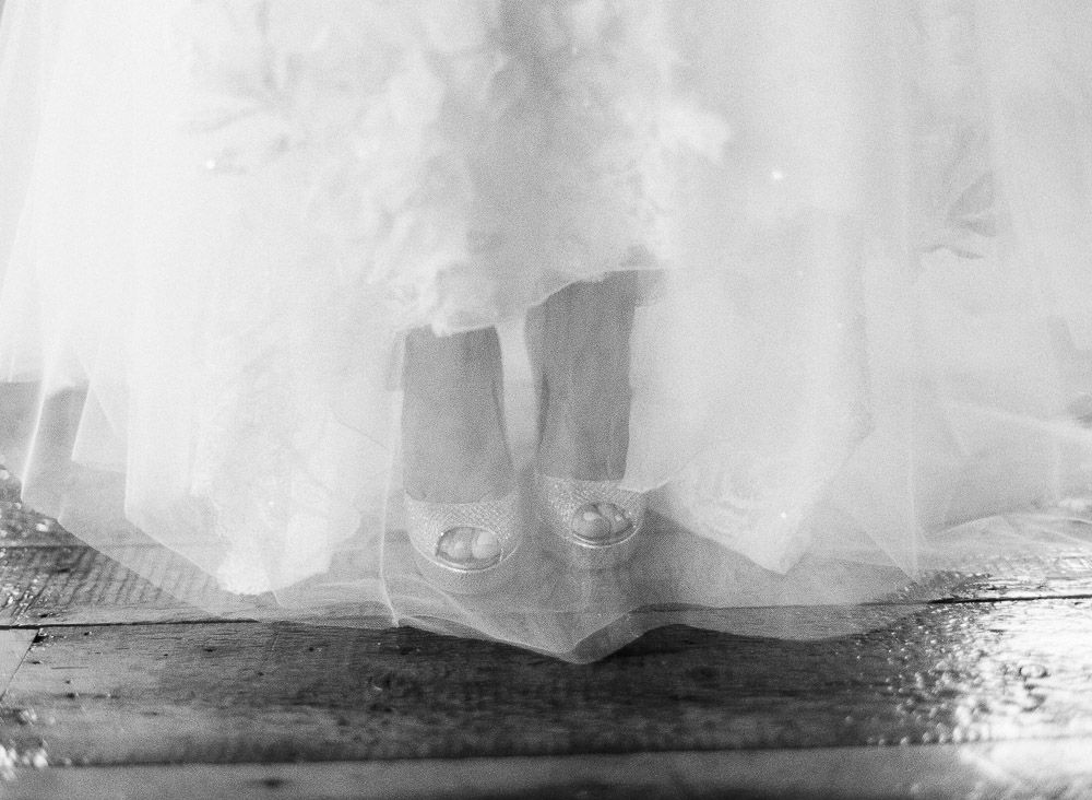 Classic Vermont Wedding Site B+W photo - dress