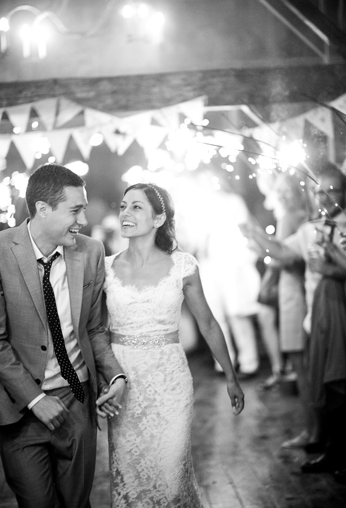 Classic Vermont Wedding Site B+W photo - sparklers