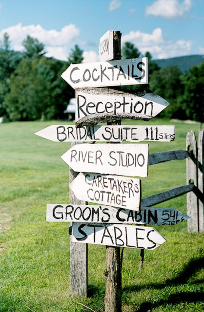 Custom Riverside Farm wedding sign post