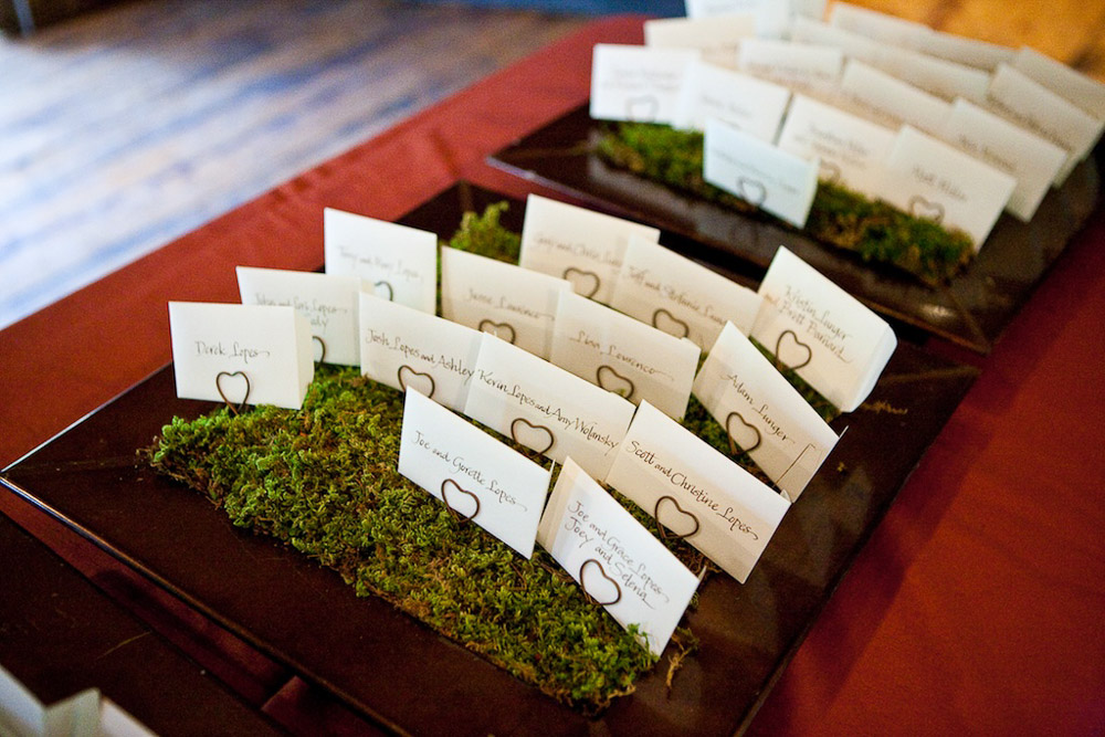 Farm wedding details - moss placecards