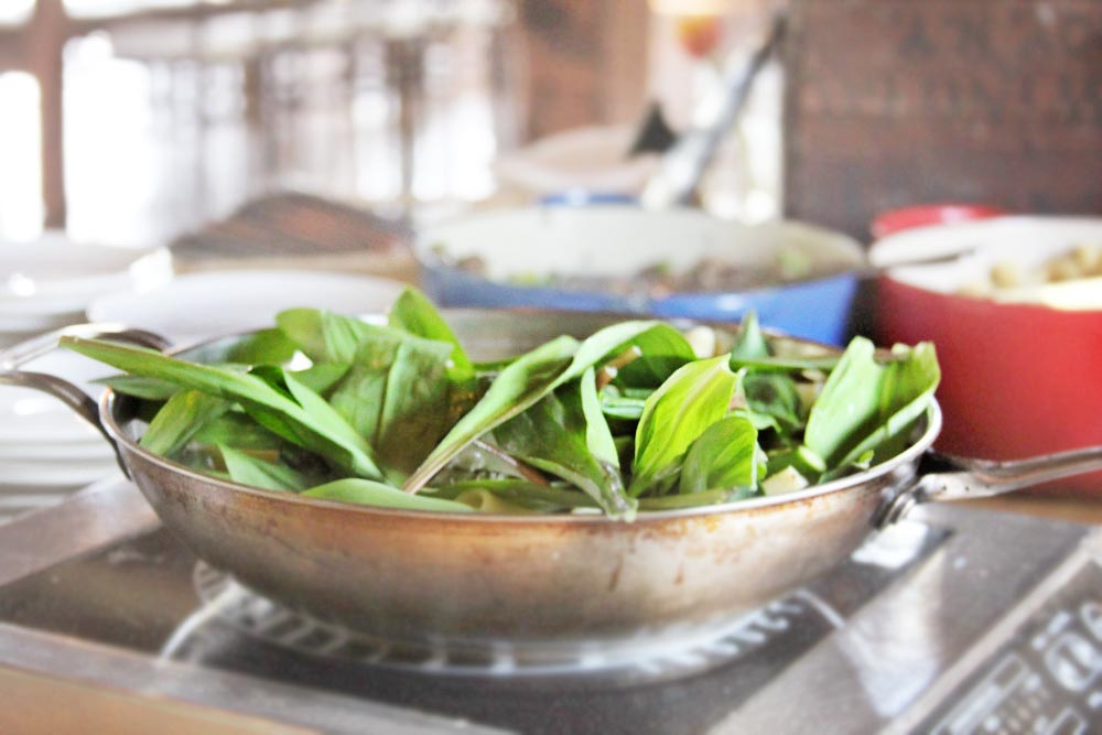 Fresh Foraged Ramps cooked up by Vermont Farms Catering