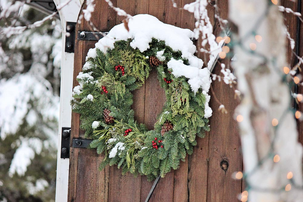 Wreath in the Snow at Hangs from our Barn Door