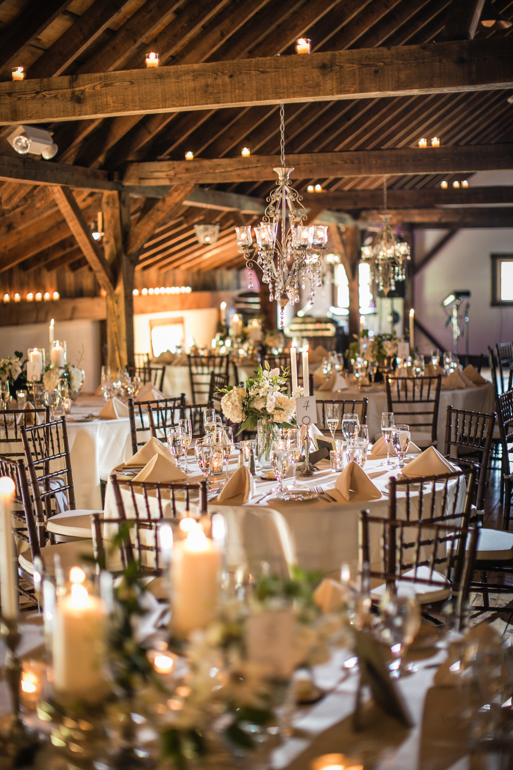 Chic Vermont Barn Wedding Reception Dinner
