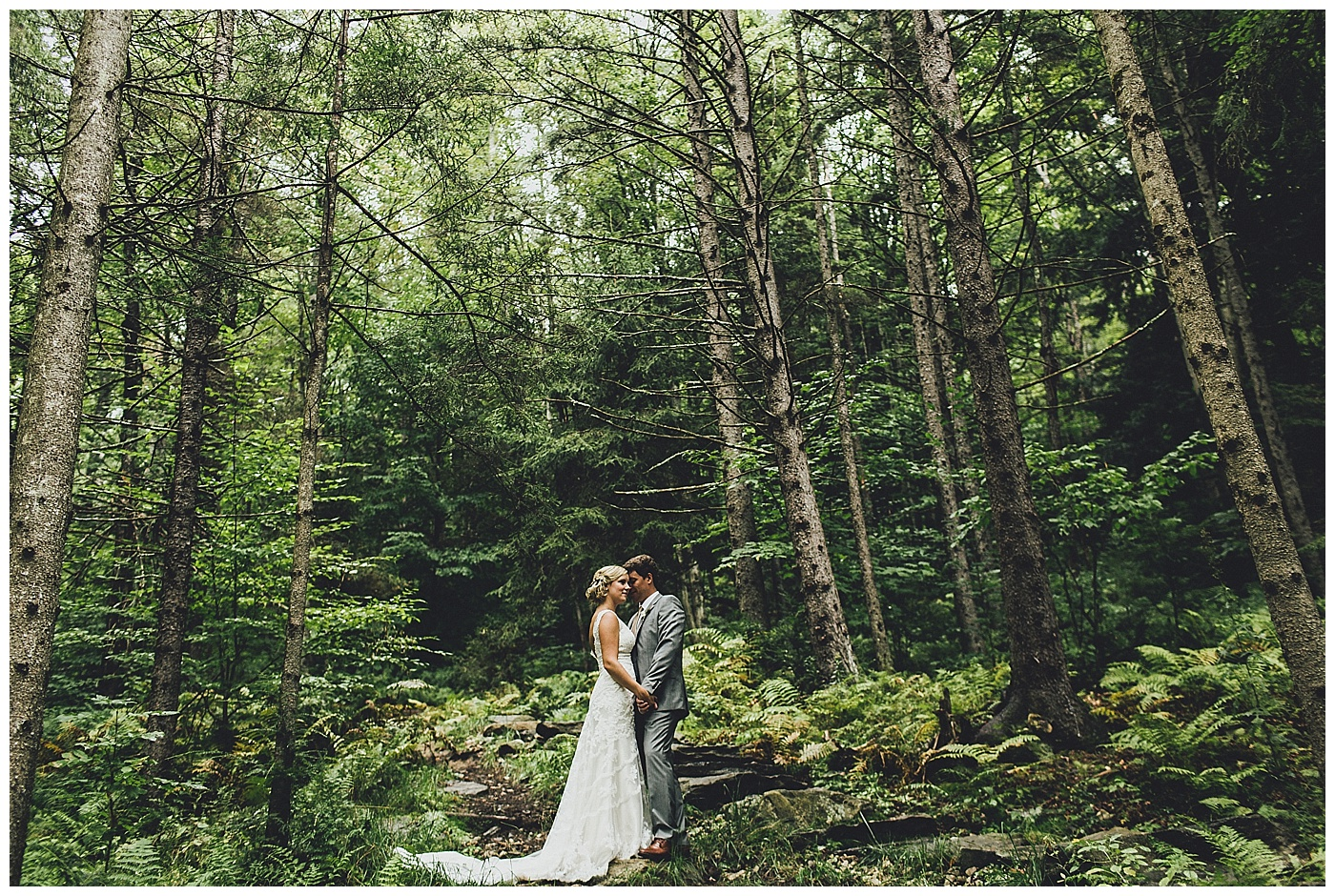 Gorgeous, Unique, Wedding Photo in the Vermont Woods at Riverside Farm.